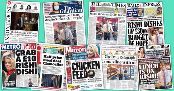How newspapers reacted to Rishi Sunak's 'meal deal' mini-Budget