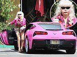 Los Angeles billboard star Angelyne, 69, braves the open air sans mask and gloves during coffee run