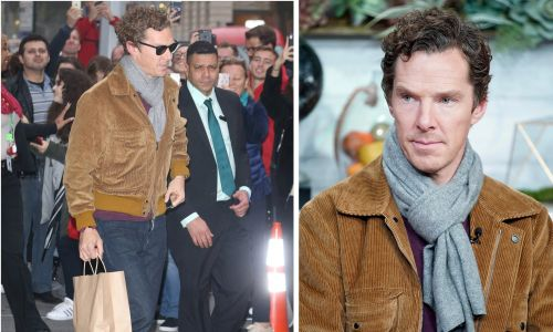 Benedict Cumberbatch wraps up warm as fans gather outside NY studio