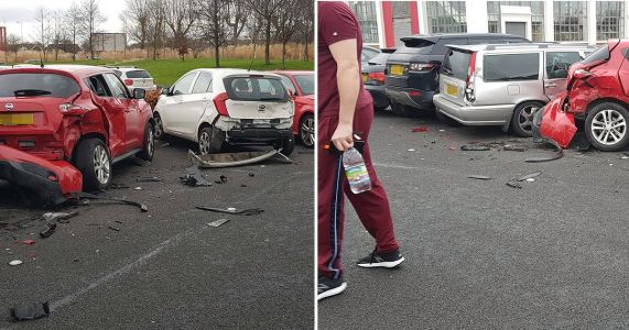 Range Rover smashed into six cars then drove out of gym car park