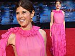 Marisa Tomei is pretty in pink ruffled gown at Spider-Man: Far From Home world premiere in Hollywood