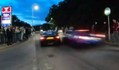 Stevenage crash video: Shock moment two boy racers hit crowd - 17 injured in car horror