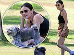 Lucy Hale is on the prowl in leopard shorts during picnic in the park with a friend