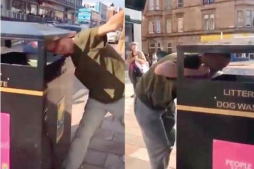 'Only in Glasgow' Hilarious video shows punter in Shawlands with his head stuck in litter bin