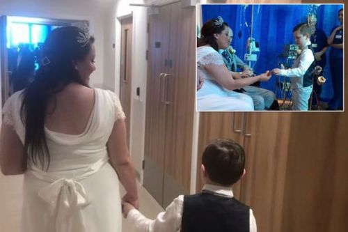 Mum marries critically ill boyfriend in hospital bed in front of sons, 10 and 6
