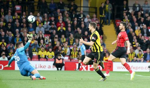 Andre Gray nets dramatic injury time equaliser for Watford to cancel out Shane Long's early strike for Southampton