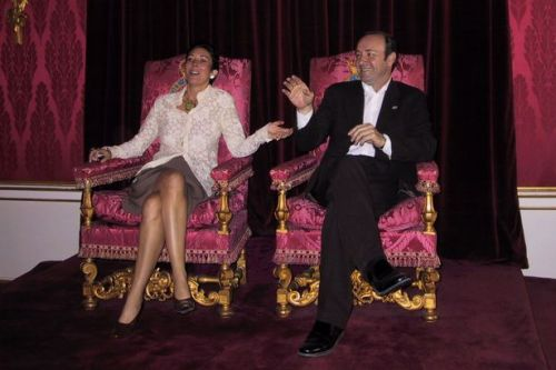 Ghislaine Maxwell sits on Queen's throne with Kevin Spacey after 'Andrew invite'