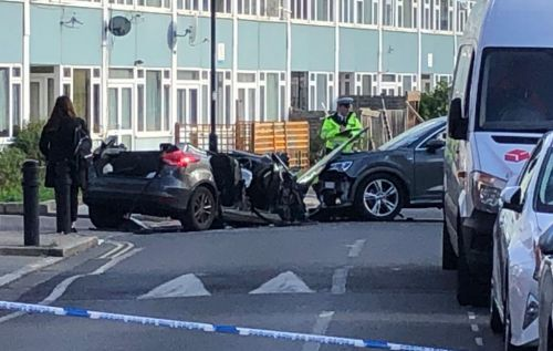 Crash leaves officer fighting for life as man arrested for attempted murder