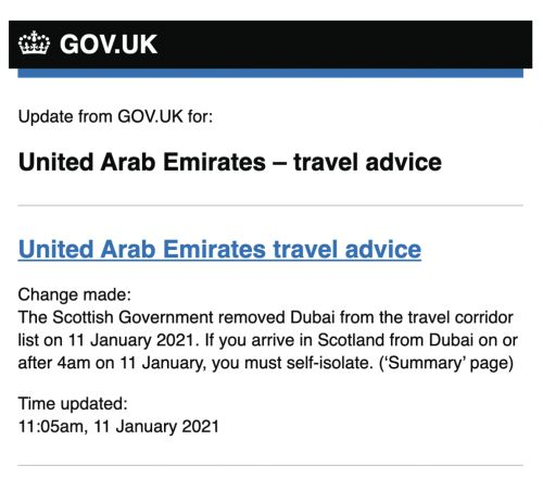 BREAKING: Scotland Removes Dubai From Its 'Travel Corridor' List