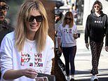 Delta Goodrem and longtime boyfriend Matthew Copley leave a cafe with friends