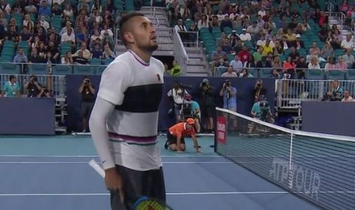 Nick Kyrgios involved in ANOTHER umpire row at Miami Open in dramatic Dusan Lajovic win