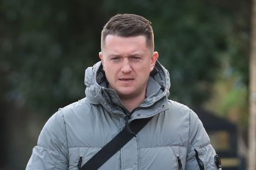 Tommy Robinson jokes about bacon burger in multifaith room as police stop him