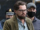 Leonardo DiCaprio pictured for the first time on the set of his new comedy film Don't Look Up