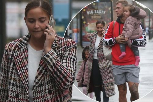 Jacqueline Jossa looks serious on the way to brunch with beaming Dan Osborne and kids