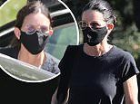 Courteney Cox practices self care as she visits a spa while wearing a face mask in Malibu