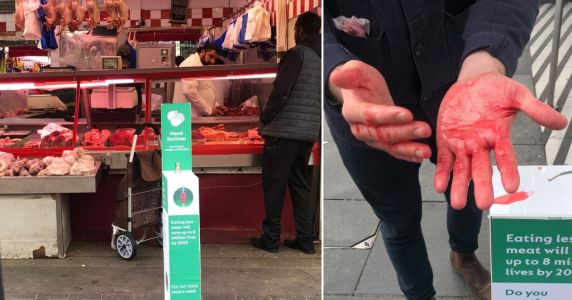 Climate activists trick meat eaters into covering their hands in fake blood