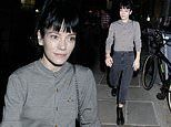 Lily Allen looks under the weather after 2:22 A Ghost Story in a grey cardigan and mom jeans