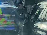 Moment undercover police car SLAMS into a female officer during a chase of five robbers in London