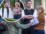 Grantchester's Tom Brittney looks delighted to be filming on set withguest star Charlotte Ritchie
