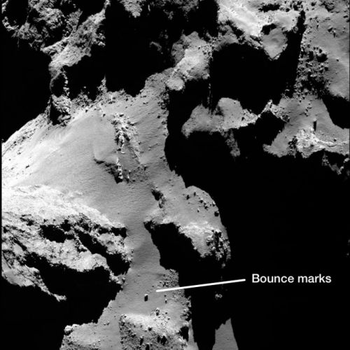 Bouncing boulders and collapsing cliffs on comet 67P