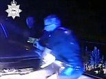 Shocking video shows teenager trying to crush police officer with his car during high-speed chase