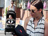 Lea Michele is chic in stripes as she takes her son out to lunch with grandma in The Hamptons