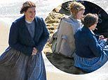 Kate Winslet embodies fossil collector Mary Anning in gingham number during Ammonite filming