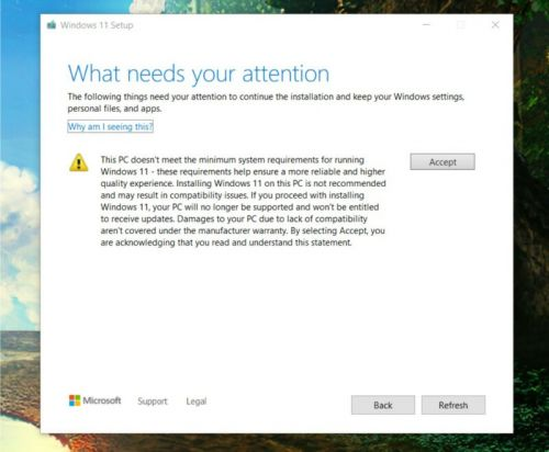 """Windows 11 setup warns that you aren't """"entitled"""" to updates on unsupported PCs"""