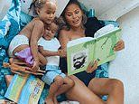 Chrissy Teigen looks stunning as usual as she reads The Giving Tree to her kids Luna and Miles