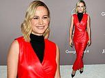 Brie Larson stands out in red leather as she attends Variety Power Of Women event