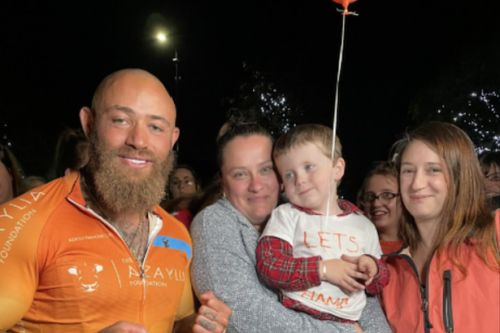 Scots locals give Ashley Cain hero's welcome after epic charity cycle in memory tragic daughter Azalyia