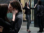 Anne Hathaway and Jared Leto share a kiss on the set of the Apple TV Plus series WeCrashed