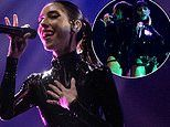 The Veronicas put on an eye-popping display in matching bondage-inspired PVC bodysuits