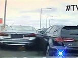 Dramatic moment police ram a stolen BMW on motorway