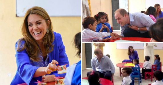 William and Kate squeeze into tiny chairs as they visit nursery kids in Pakistan
