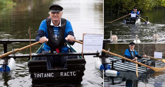 Retired army major sets off on 100-mile row in his homemade boat 'Tintanic'