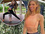 Laura Csortan shows off her washboard abs and slim pins in a crop top and leggings