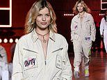 Georgia May Jagger cuts an edgy figure as she takes to the runway at Tommy Hilfiger LFW show