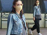Rooney Mara aces pregnancy style in an oversized tee and cropped denim jacket as she runs errands