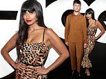 Jameela Jamil shows wild side in leopard print dress at GQ Men of the Year event with James Blake