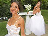 Emma Weymouth amps up the glamour in a sheer white lace gown at London Fashion Week