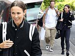 Bec Hewitt looks giddy leaving rehearsals for Dancing With The Stars with dance partner Craig Monley