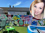 Teacher transforms grey garden wall into Disney mural for £100 - painting all 28 characters freehand