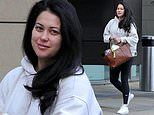 Pregnant Sam Quek covers up her bump in a cream hoodie as she heads to film Question Of Sport