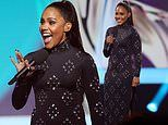 Alex Scott turns heads as she hosts theUEFA Women's EURO 2022 Final Draw Ceremony in Manchester