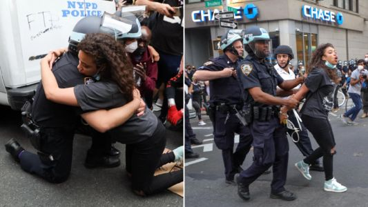 Woman arrested moments after getting cop to kneel with her at George Floyd protest