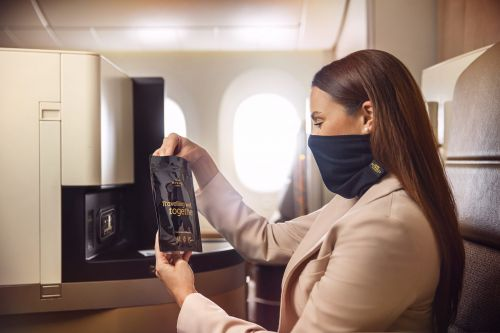 Premium masks for premium flyers: Etihad Airways will give first and business class passengers reusable, antimicrobial face coverings