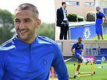 Chelsea's new £37.8m star Hakim Ziyech is pictured in blue for the first time
