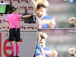Lionel Messi refuses to shake the hand of referee Cuneyt Cakir after Barcelona's 3-1 win over Napoli
