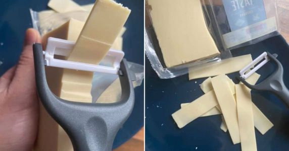 Mum gets perfect slices of cheese every time with potato peeler trick